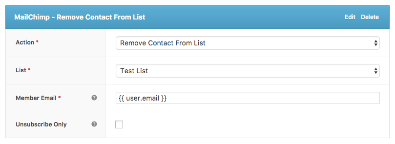 Remove Contact from MailChimp list action