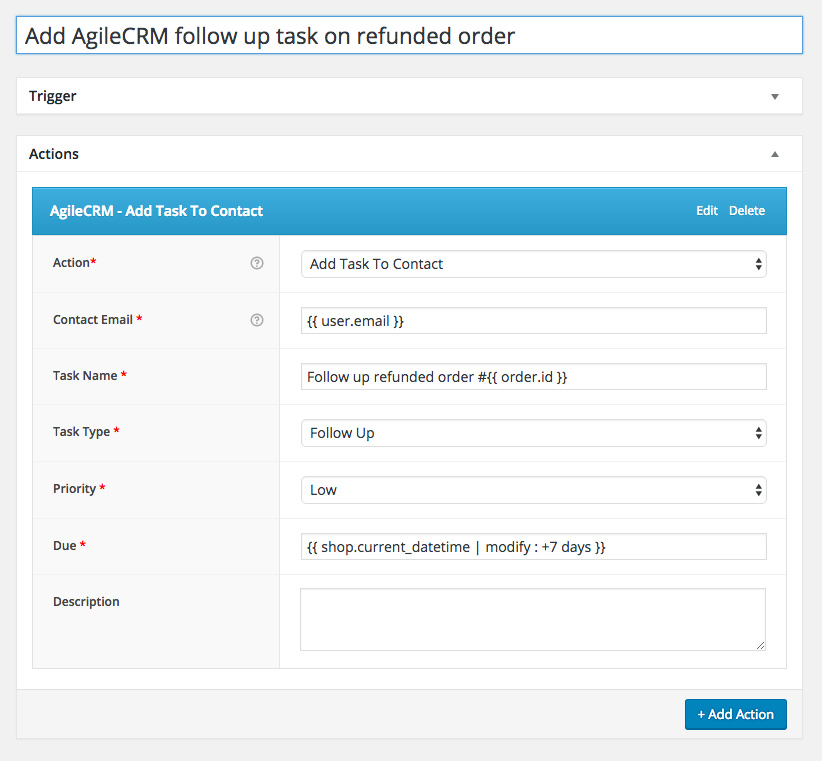 Add AgileCRM follow up task on refunded order
