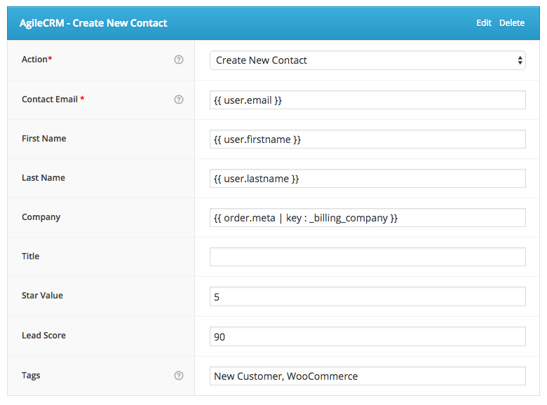 AgileCRM - Create New Contact Action