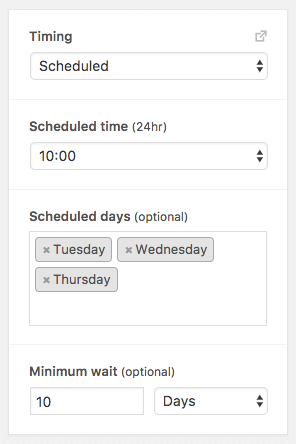 This timing feature will run a workflow at a set time of the day and week.