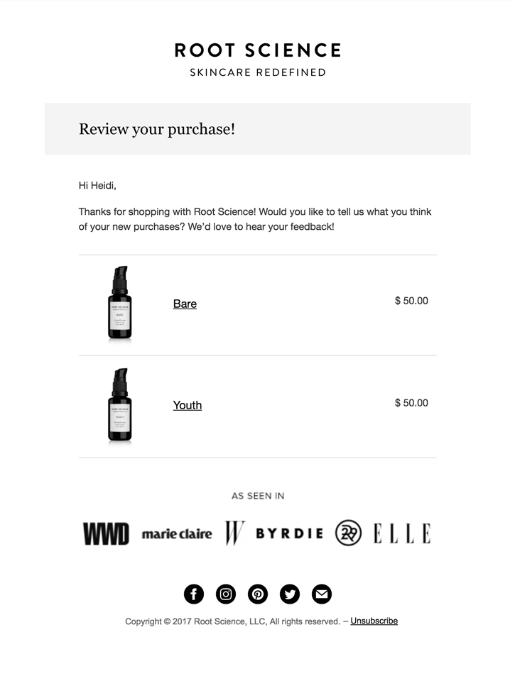 WooCommerce review reminder email example