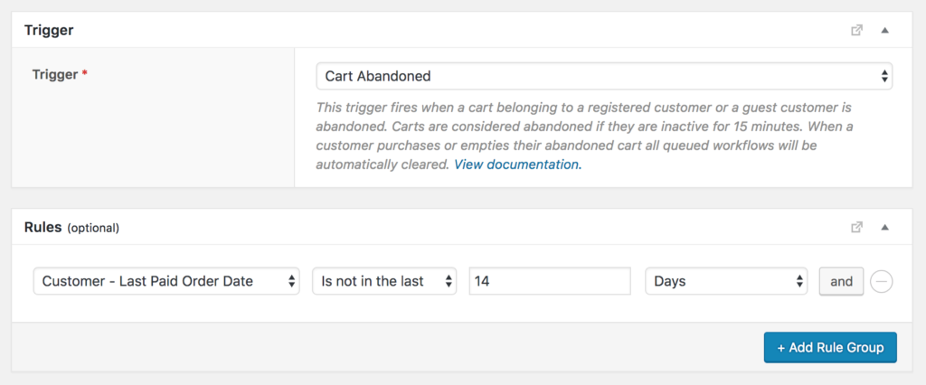 Prevent abandoned cart emails if the customer has ordered in the last X days