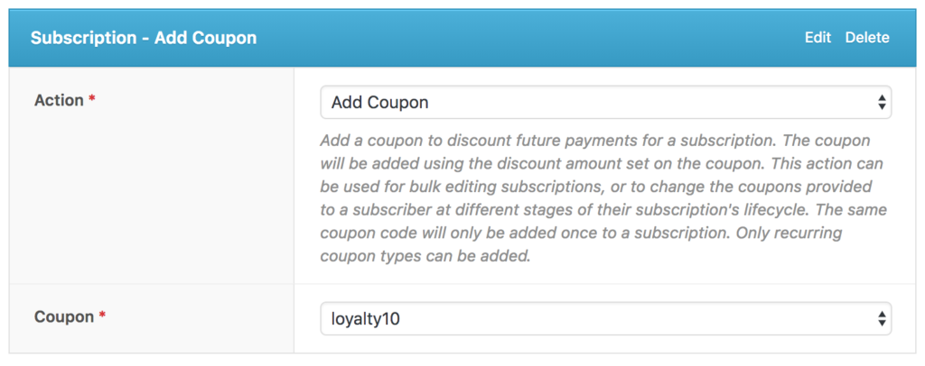 Subscription - Add Coupon