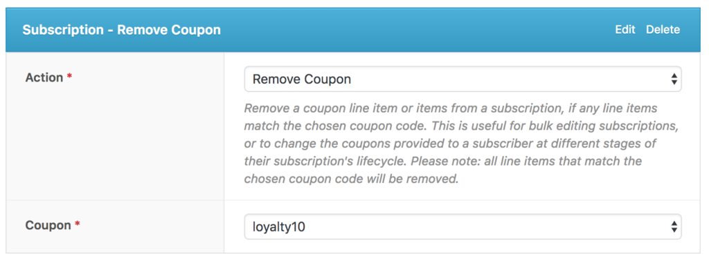 Subscription - Remove Coupon
