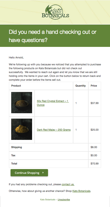 Kats Botanicals' simple WooCommerce abandoned cart email