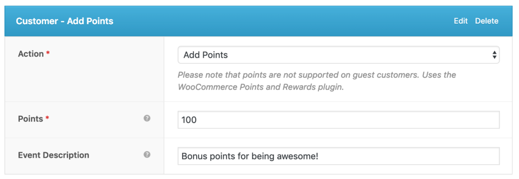 AutomateWoo Customer Add Points action
