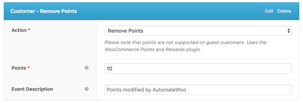 AutomateWoo Customer Remove Points action